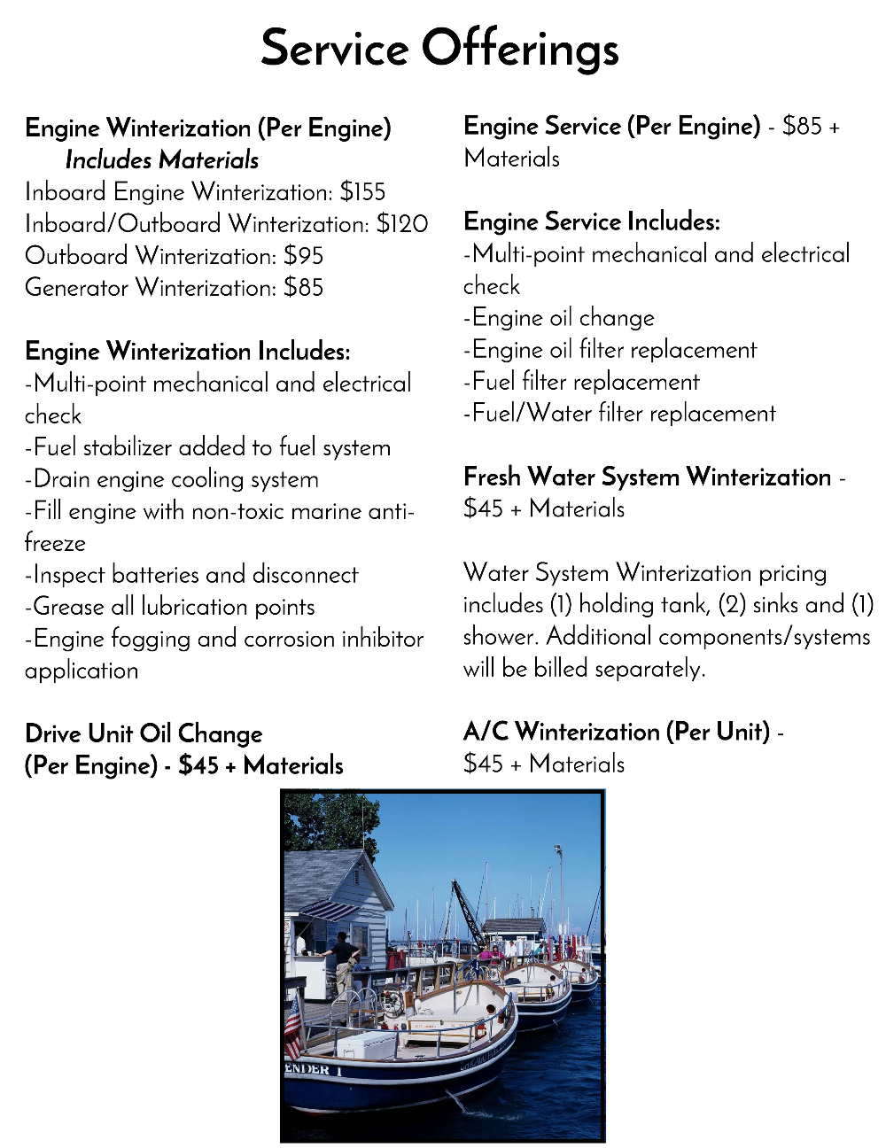 Brightwork Marine Service Offerings